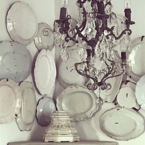 wall of dishes