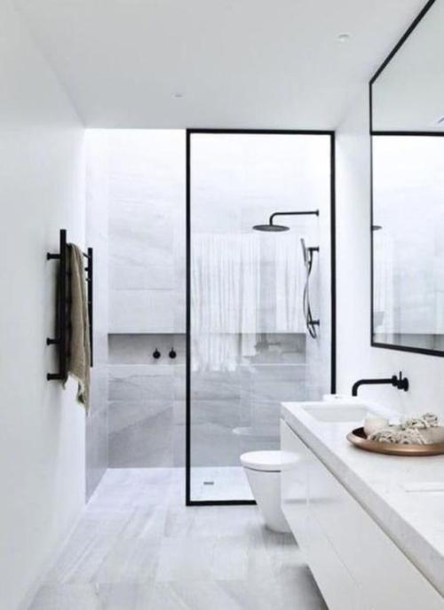 Black trimmed shower