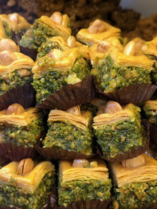 Little cakes sucha variety it was hard to decide. Lemon, date, raisin, almonds, peanuts, pistacho, honey, argan oil, more honey, cinnamon and combinations of the above.  The one above was shredded toasted phyllo dough with honey and cinnamon which robed an almond paste nugget.