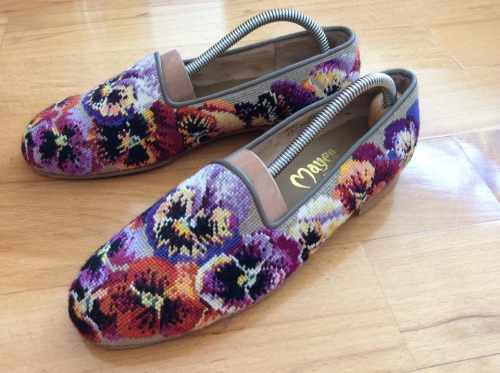 needlepointed slippers
