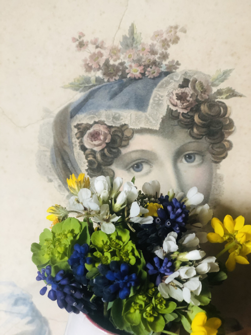 flower girl 1800s tinted engraving