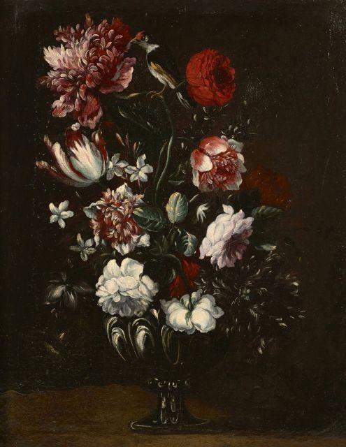 Ecole italienne du XVIIIe siècle Bouquet de fleurs dans un vase godronné