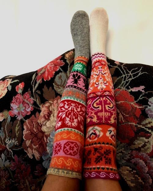 traditional Muhu stockings.