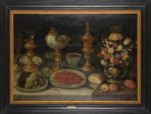Ambrosius Breugel- tableau (h:p) 'nature morte avec fleurs et nautile'