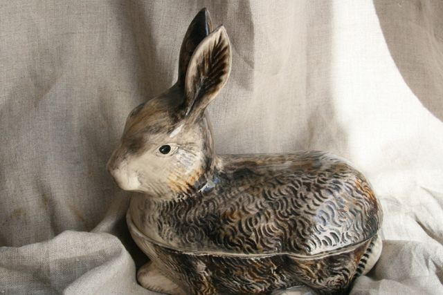 French Antique Majolica Rabbit for Pate